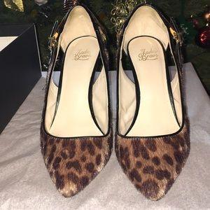 Brown cow hair heels 81/2